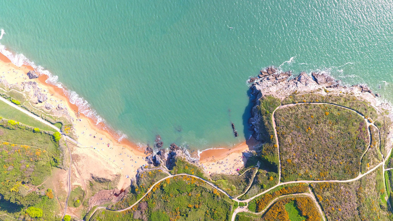 High angle view on beaches of La Pierre Blanche in Préfailles, Loire Atlantique, France Aerial Photography Aerial View Atlantic Ocean Beach Beauty In Nature Coast Coastline Day Drone Shot EyeEm Best Shots France High Angle View Holiday Landscape Loire Atlantique Outdoors Prefailles Rocks Scenics Sea Seascape Water Water Reflections Waterfront Waves