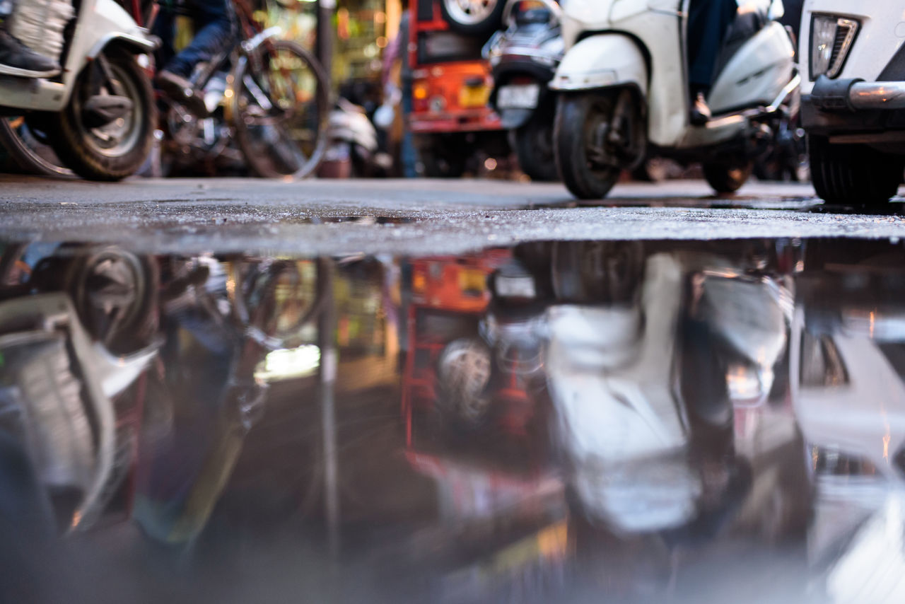 EyeEmNewHere Incredible India Streetphotography Streets Of India Street Life Traffic Flow Old Delhi Reflections In The Water Scooterist Scooter TukTuk EyeEm Best Shots - The Streets Busy Impressionism Blurred Motion Colour Of Streets Lights And Shadows Chandnichowk Craziness