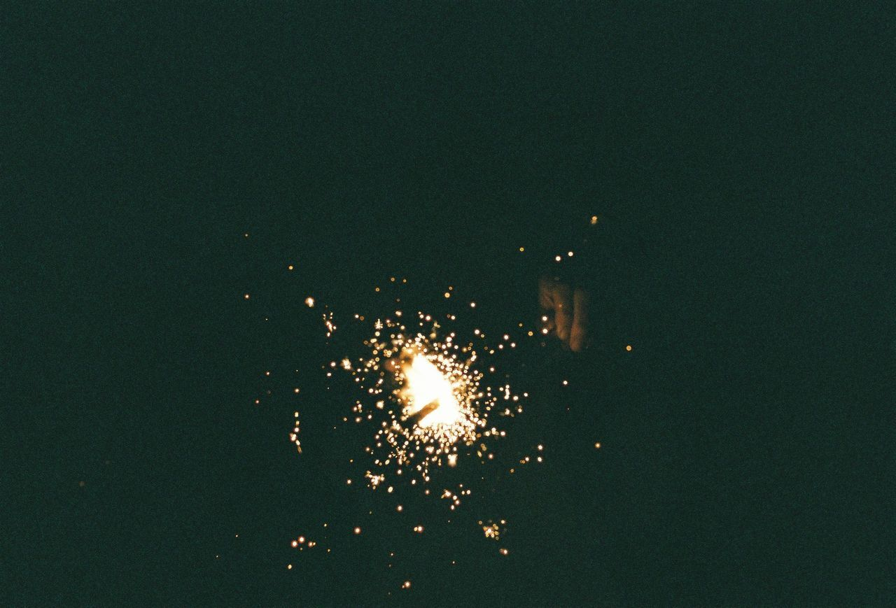 Sky Illumed With Fire Crackers At Night