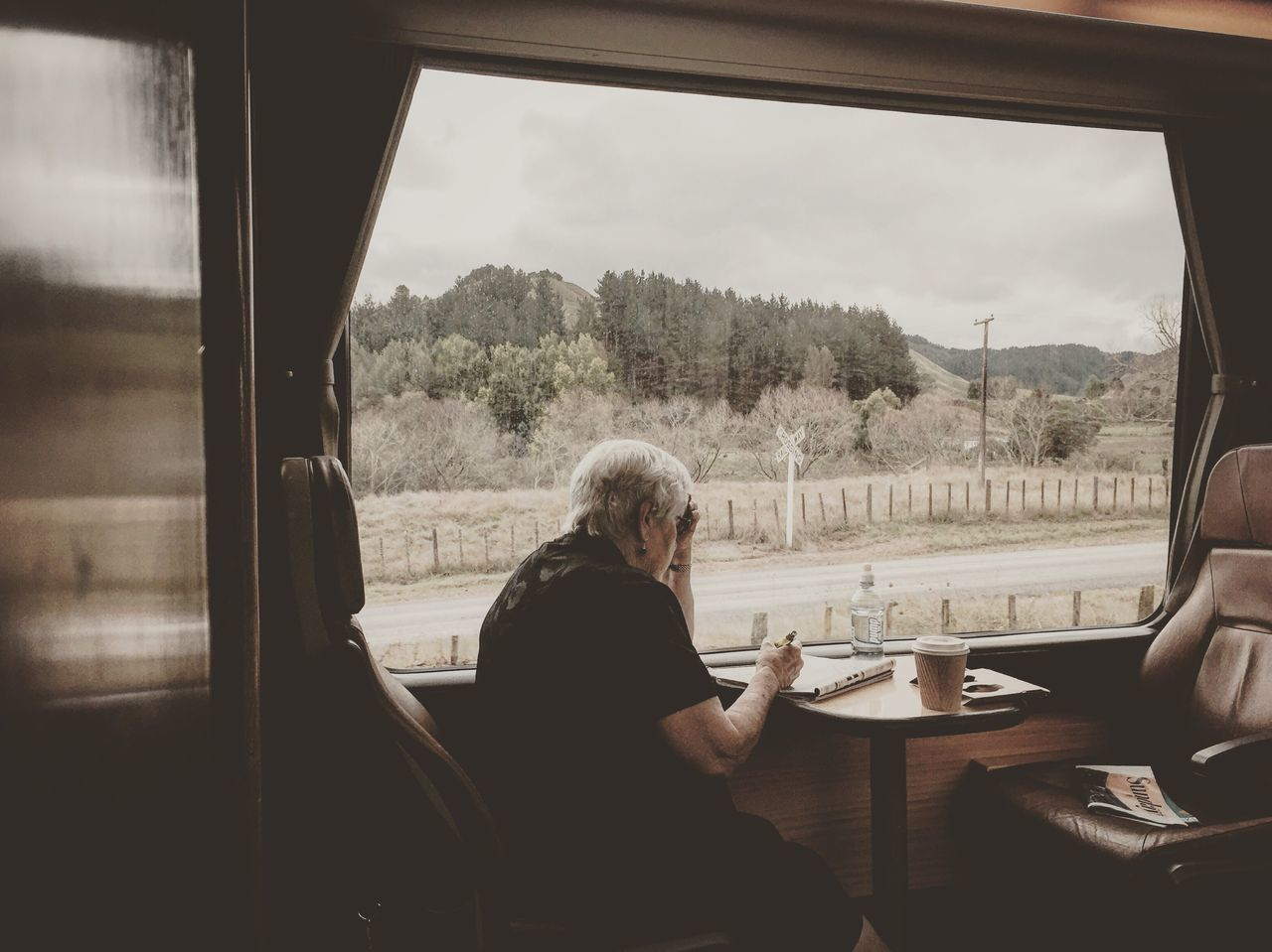 sitting, window, real people, senior adult, one person, table, transportation, senior women, indoors, leisure activity, train - vehicle, looking through window, mode of transport, casual clothing, tree, lifestyles, day, bus, sky, vehicle seat, women, adult, people