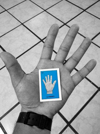 Human Body Part Human Hand One Person Adult Close-up Mano Blue Color Hand Blak And White