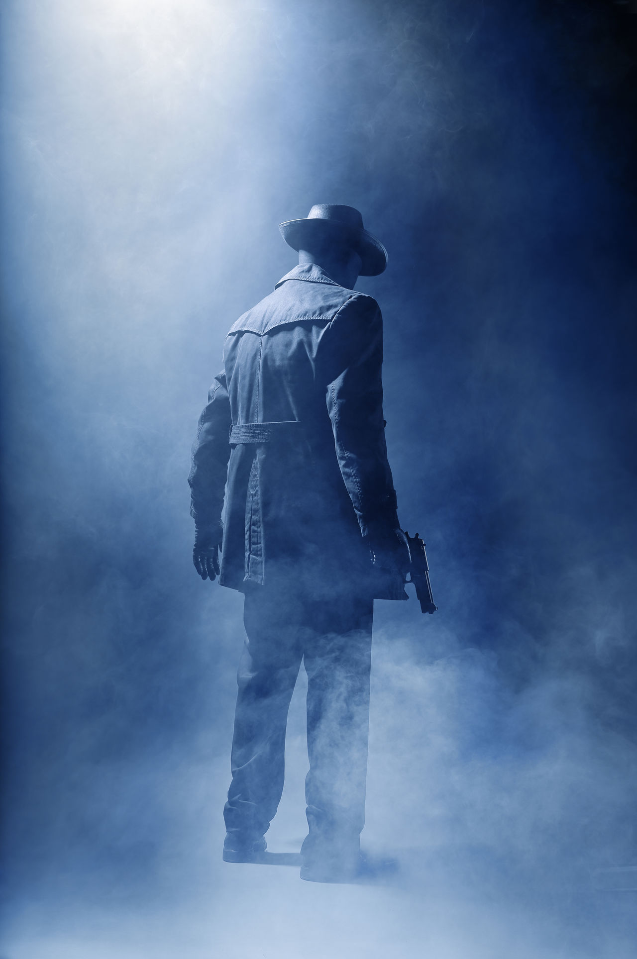 Adult Back Blue Film Noir Full Length Gangster Hat Killer Mysterious One Man Only One Person People Pistol Smoke - Physical Structure Standing Thriller Unknown Unrecognizable Person
