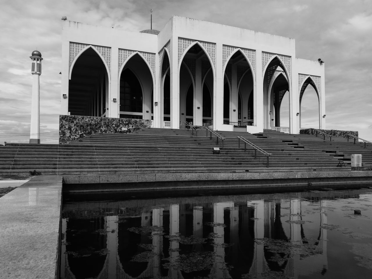 Architecture Water Water Reflections Sky Arch Mosque Day Outdoors Cloud - Sky Building Exterior Thailand Waterfront Exterior No People Monocrome Thai Monochrom Architectural Column Monochrome Photography Monochrome Architecturephotography Thaïlande Monochromatic