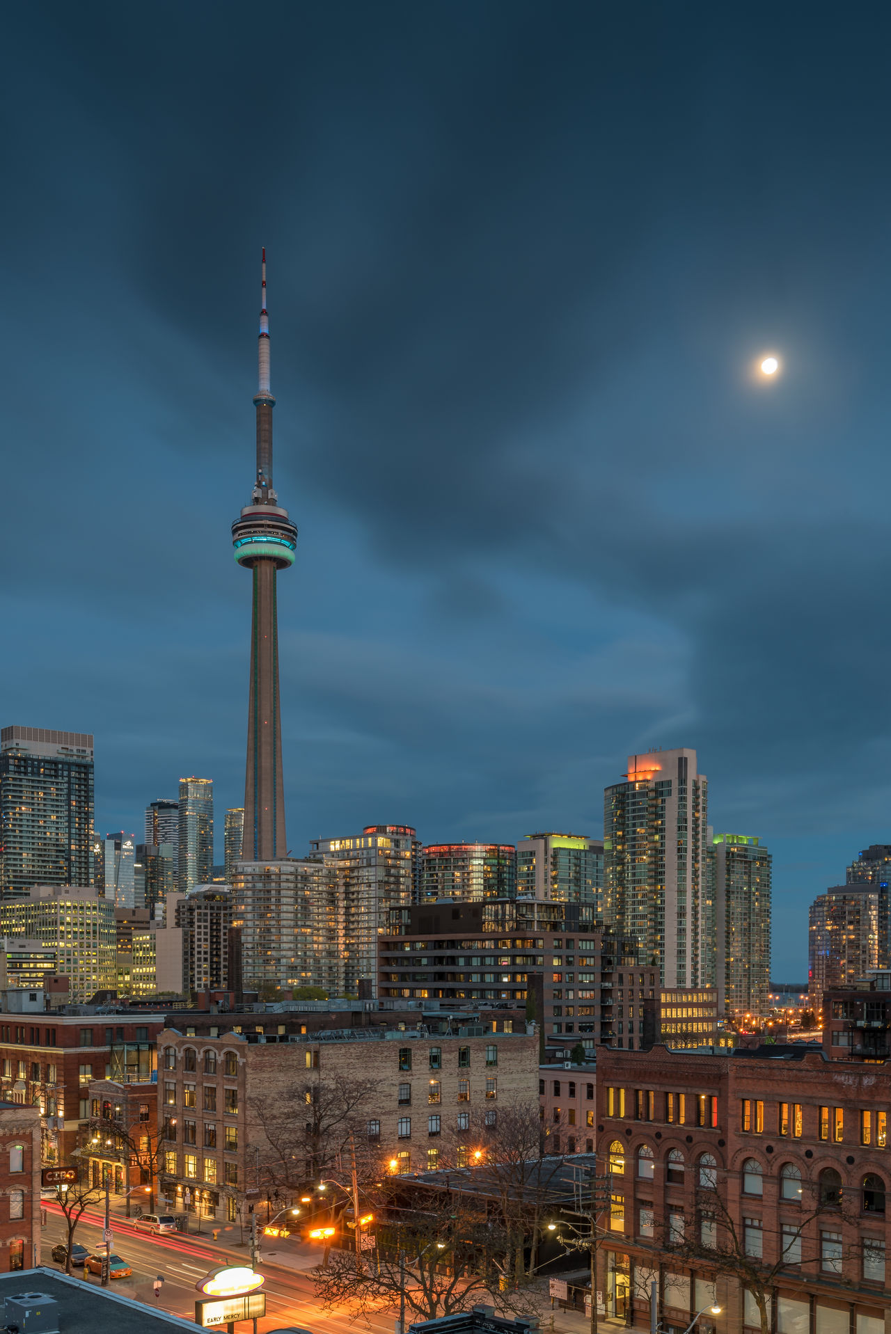 Downtown Toronto Architecture Building Exterior Built Structure Canada City City Cityscape Downtown Illuminated Long Exposure Modern Moon Nature Night Night Lights Nightphotography No People Outdoors Sky Skyscraper Sunset Tall Tall - High Toronto Travel Destinations