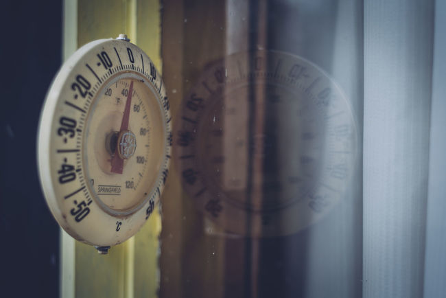Clock Close-up Curtains Focus On Foreground Needle Old-fashioned Reflection Temperature Thermometer Window