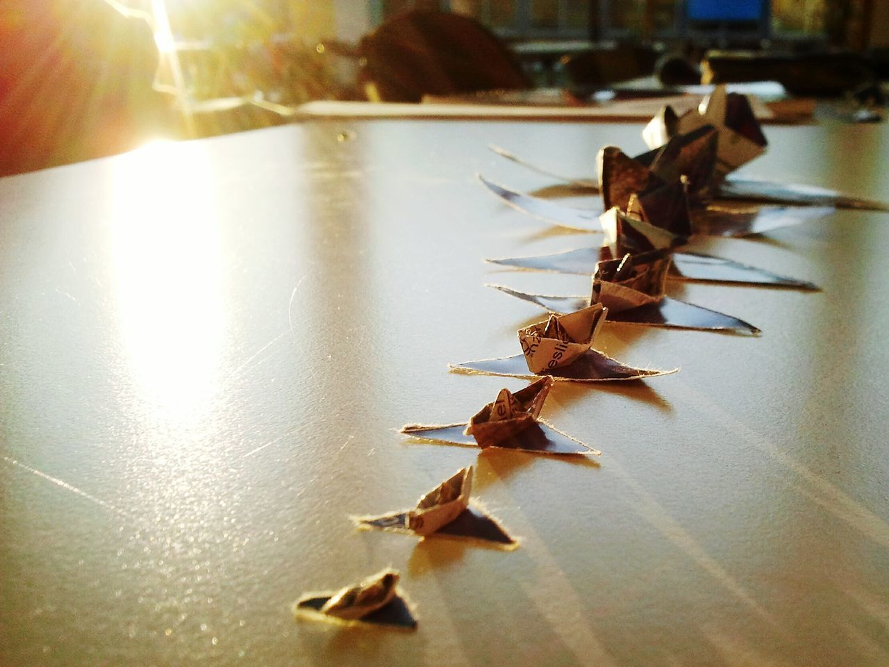 Studying University After Lunch Paper Paper Ship Ships Origami Sunset Mensa Table Art Light And Shadow Canteen