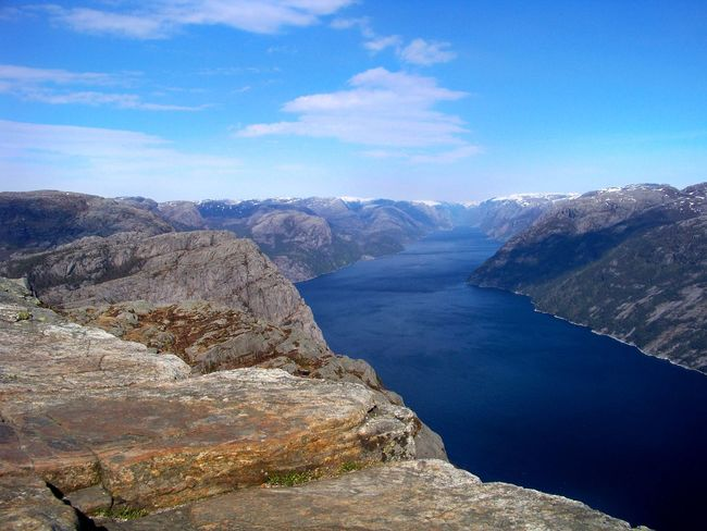 Beauty In Nature Blue Blue Sky Cloud Cloud - Sky Day Fjord Landscape Lysefjord Mountain Mountain Range Nature No People Norway Outdoors Preikestolen Rock Rocky Mountains Sky Travel Destinations Water Original Experiences