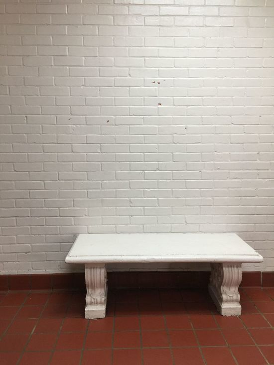 Bench. White Color Absence Tile Indoors  No People Tiled Floor Hygiene Day Minimalism Minimal Minimalist Sit Rest Cold Austere Empty Chair Empty Emotionless Echo Scary Life Memories Memory Cold Colors Devoid Lacking