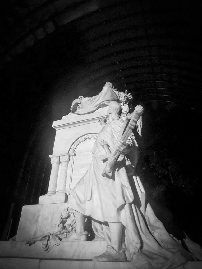 The Memorial for the Musician Richard Wagner in the Tiergarten of Berlin. Outdoors Architecture Day Life Events One Person People Idol Figure Night Light And Shadow Black And White Music Richard Wagner Musicians Frog Perspective Statue Marble