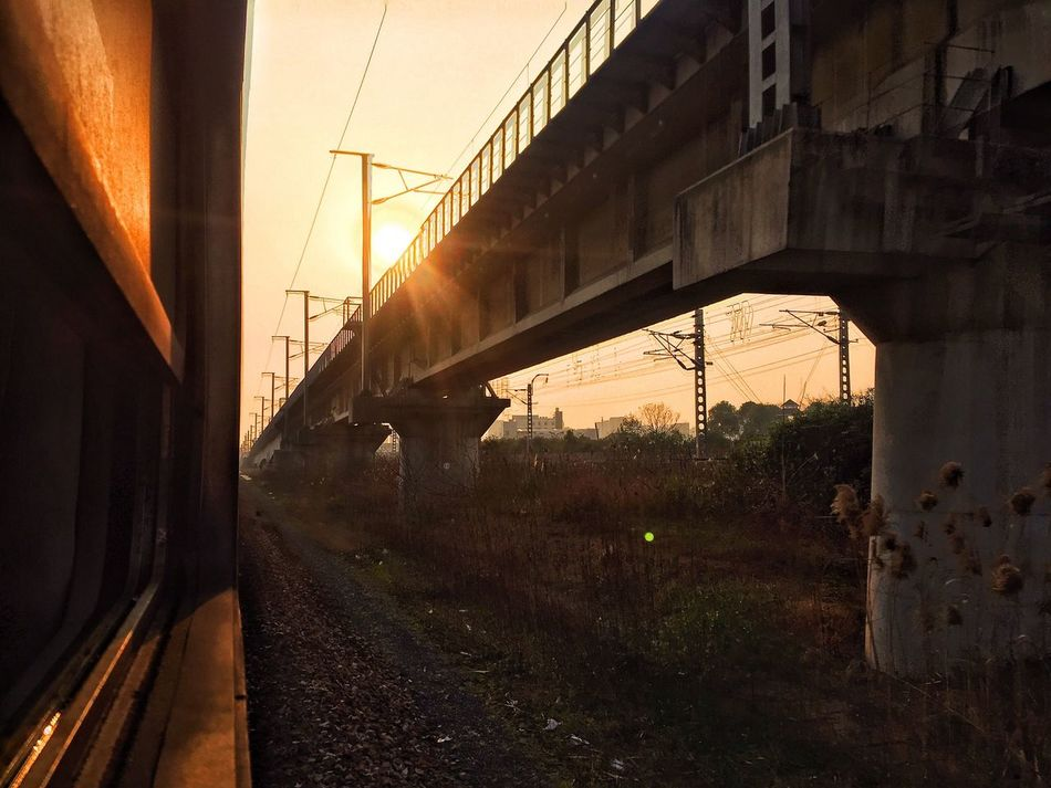 Outdoors Transportation Sunset Land Vehicle Train Tracks Railway Train On The Road On The Way On The Move On The Train Look Out Leisure Activity Travel Train Travel Traveling