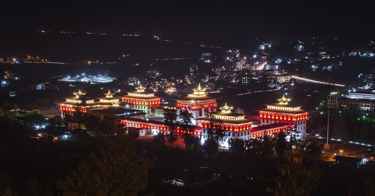 Night Illuminated Architecture No People Outdoors Bhutan Zong Asian Culture Bhuddhism Religious Architecture Castle History Historical Building Dzong Bhutan Thimphu Bhutan Gate Bhutan Monks