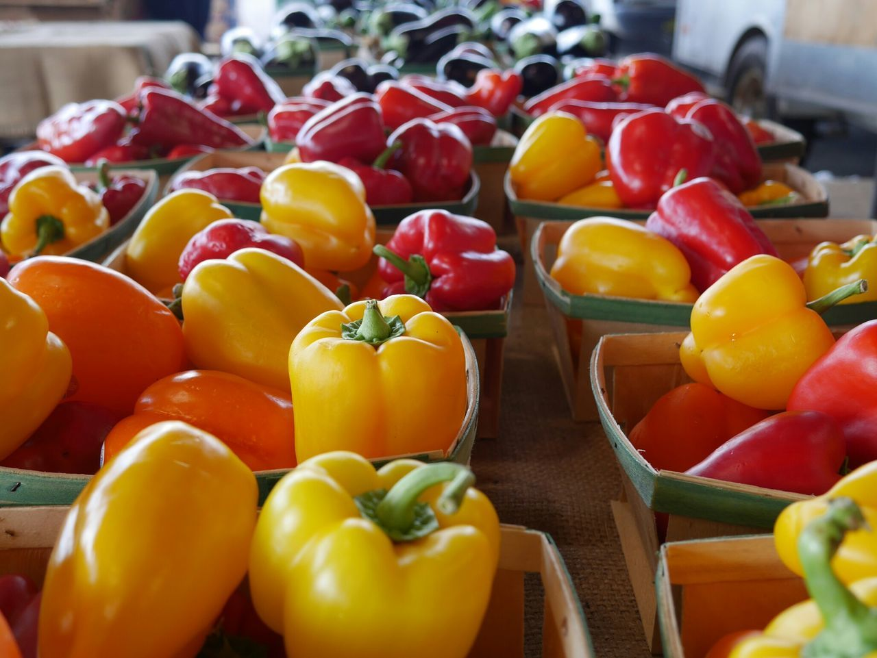 Freshness Retail  Healthy Eating Food Market Market Stall Yellow Fruit Close-up Farmer's Market Red Bell Pepper EyeEmNewHere