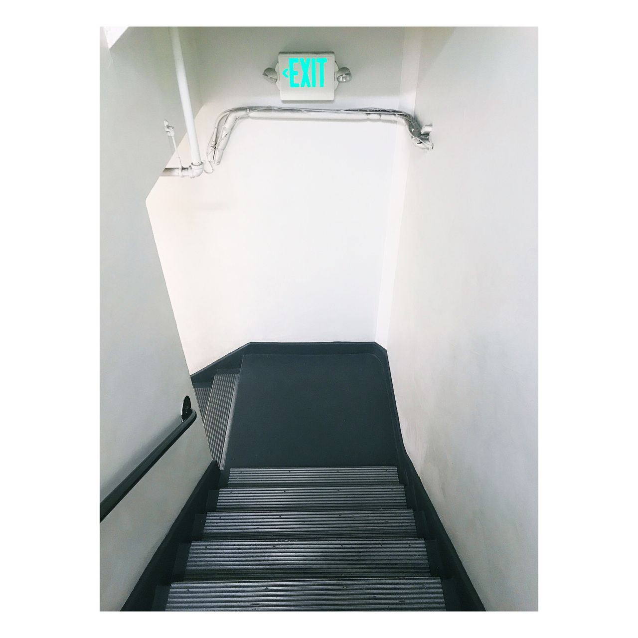 Exit stage left..... Indoors  Steps And Staircases Steps No People Day Hallway Exit Sign Staircase Stairwell