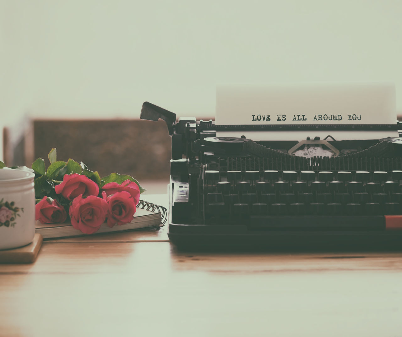 Old typewriter on workplace with vintage color style Flower Love Love Letters Old Style Old Typewriter Old-fashioned Romance Table Typewriter Vintage Photo Vintage Style