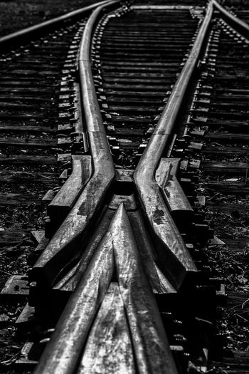 Abandoned Black And White Photography Canadian National Railway Deteriorated I Love Trains Metal Old Old Railway Line Railroad Railroad Crossing Railroad Switch Railroad Ties Railroad Track Railroad Tracks Rusty Rustygoodness Showcase April This Week On Eyeem Ties Train Train Tracks Trains Trainspotting Vintage Worn Out