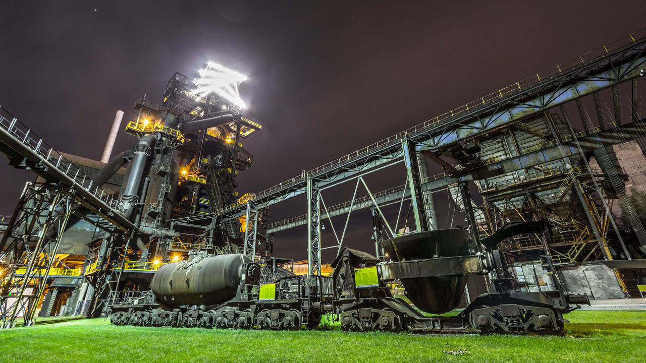 Architecture Built Structure Business Finance And Industry Coalmine Dolni Oblast Vitkovice Factory Futuristic Iluminated Industry Industry In City Industry Vs Nature Long Exposure Manufacturing Equipment Metal Night Night Sky No People Outdoors Sky Steel Factory Vitokovice