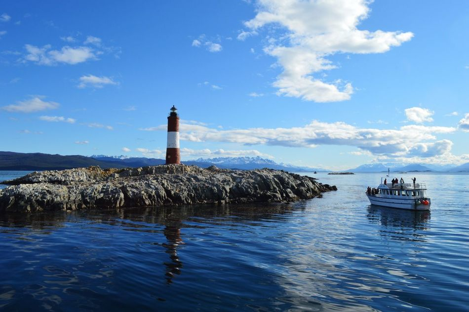 Lighthouse Water Sky Nature Guidance Cloud - Sky Sea Day Waterfront Transportation Nautical Vessel Outdoors Beauty In Nature Scenics Tranquility Blue Ushuaïa Patagonia