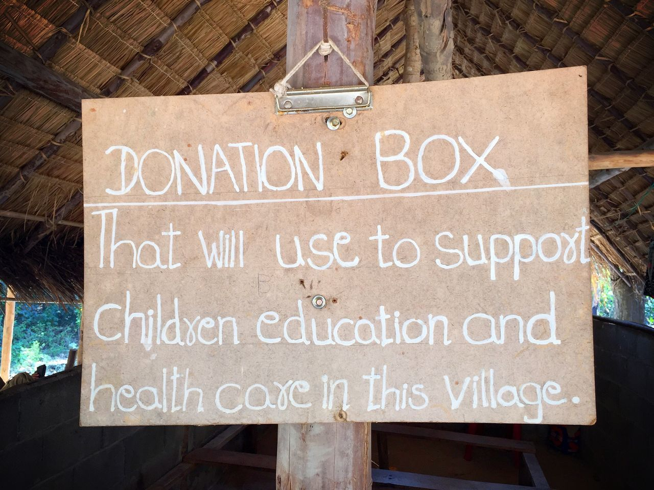 Donation sign in a rural village in Thailand. Thailand Donation Children Signboard Sign Village Education