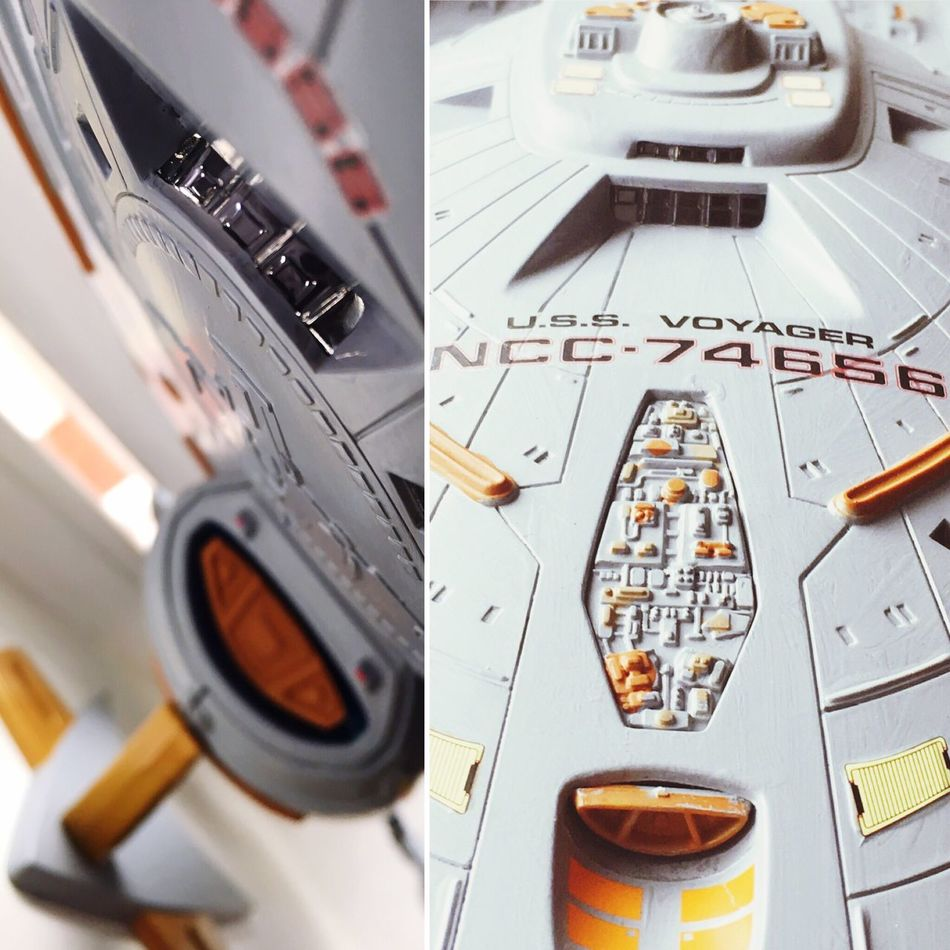I've hearkened back to my childhood, somehow constructing a model, painting the intricate details and placing the decals perfectly brings a solace and peace to me. I'm pleased that the fruits of my labour look aesthetically pleasing! Presenting the Intrepid Class Starship - 'USS Voyager: NCC-74656' Close-up Land Vehicle Selective Focus Engineering Extreme Close Up Modern Space Exploration Startrek Geometric Shape Plasticmodels