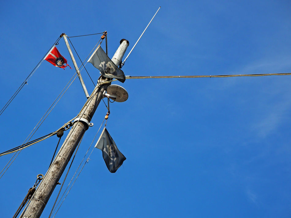 Beautiful stock photos of pirate, Blue, Day, Low Angle View, Mast