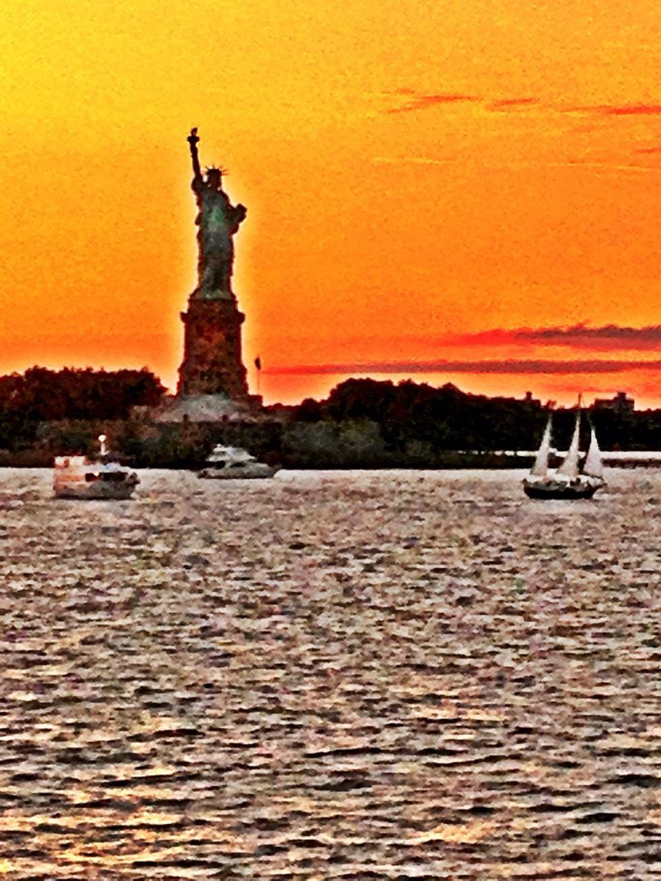 freedom???? Staute Of Liberty NYC Water Sunset