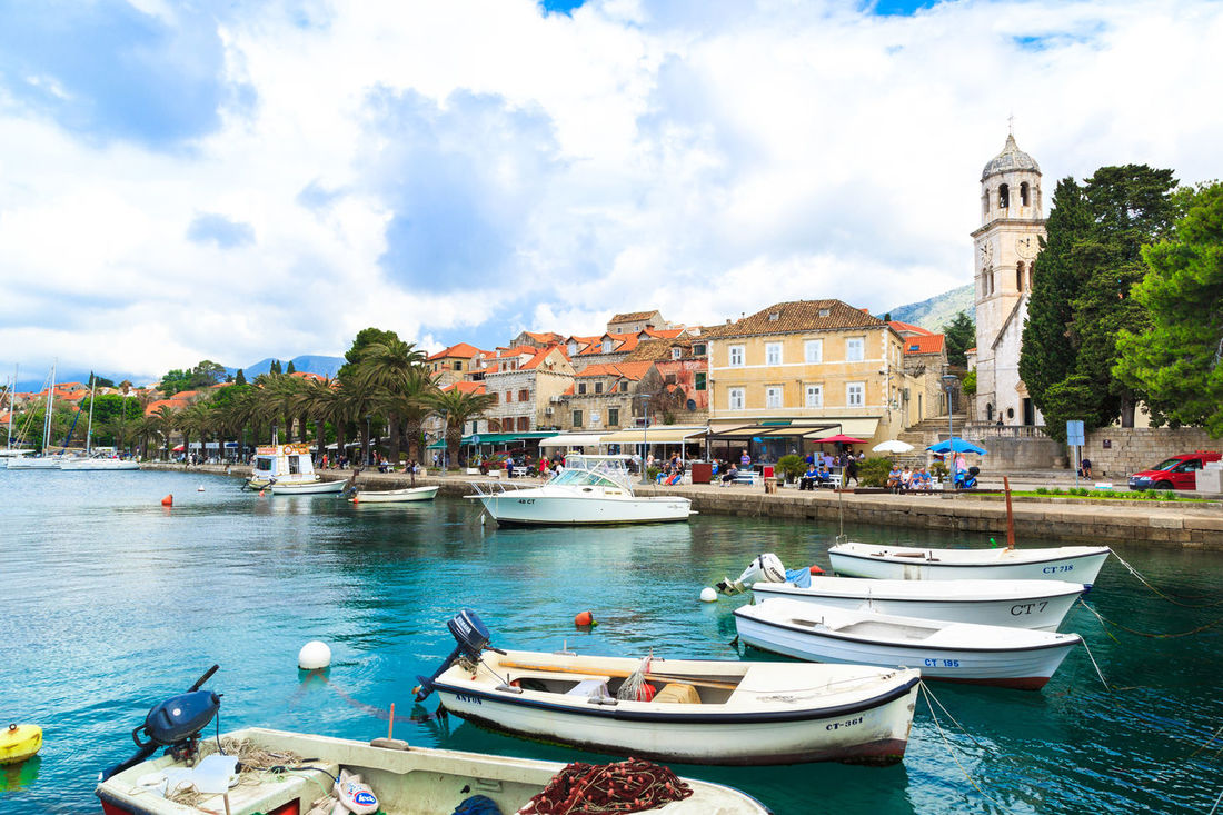 Panorama view of Cavtat, Croatia Adriatic Sea Beautiful Cavtat  Church Croatia Croatian Cute Europe Family Vacation Fishing Fishing Boat Green Holiday Luxury Nature Quay Summer Town Travel Travel Destinations Vacation Waterfront
