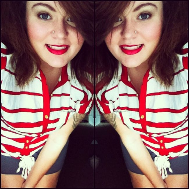 Today I decided to look like Minnie Mouse . Stripes Fashion Notanotherselfie