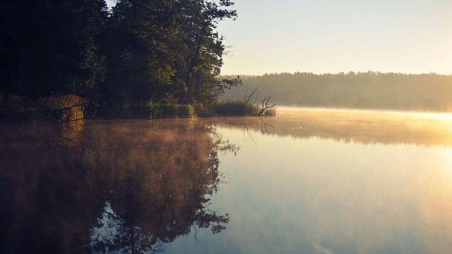 Dawn Lake Morning Polska Mazury Nature Natural Beauty