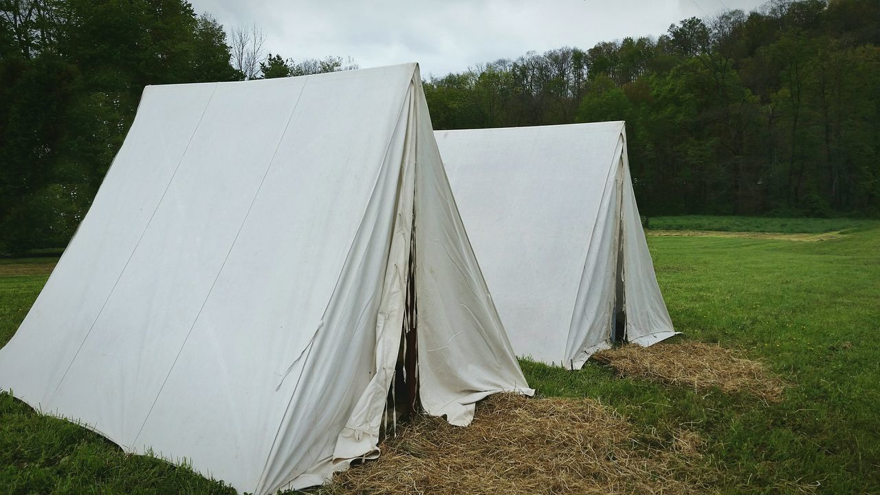 Tents at Seven Year's War re-enactment Day No People Outdoors Grass Sky Vintage Military Sleeping Quarters Tent Tents