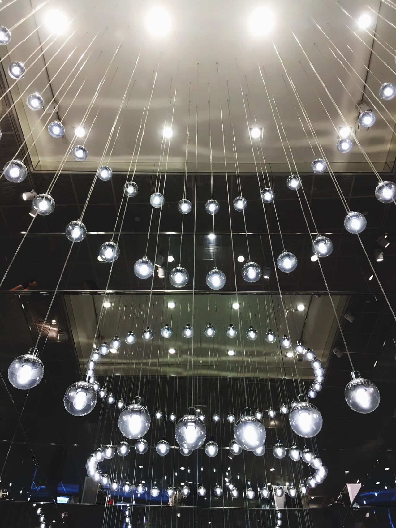 Ceiling Illuminated Modern Linear IPhone Photography IPhone SE Smartphone Photography Light Bulb Modern Chandelier