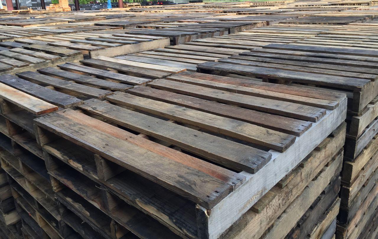 Full Frame Shot Of Stacked Wooden Pallets