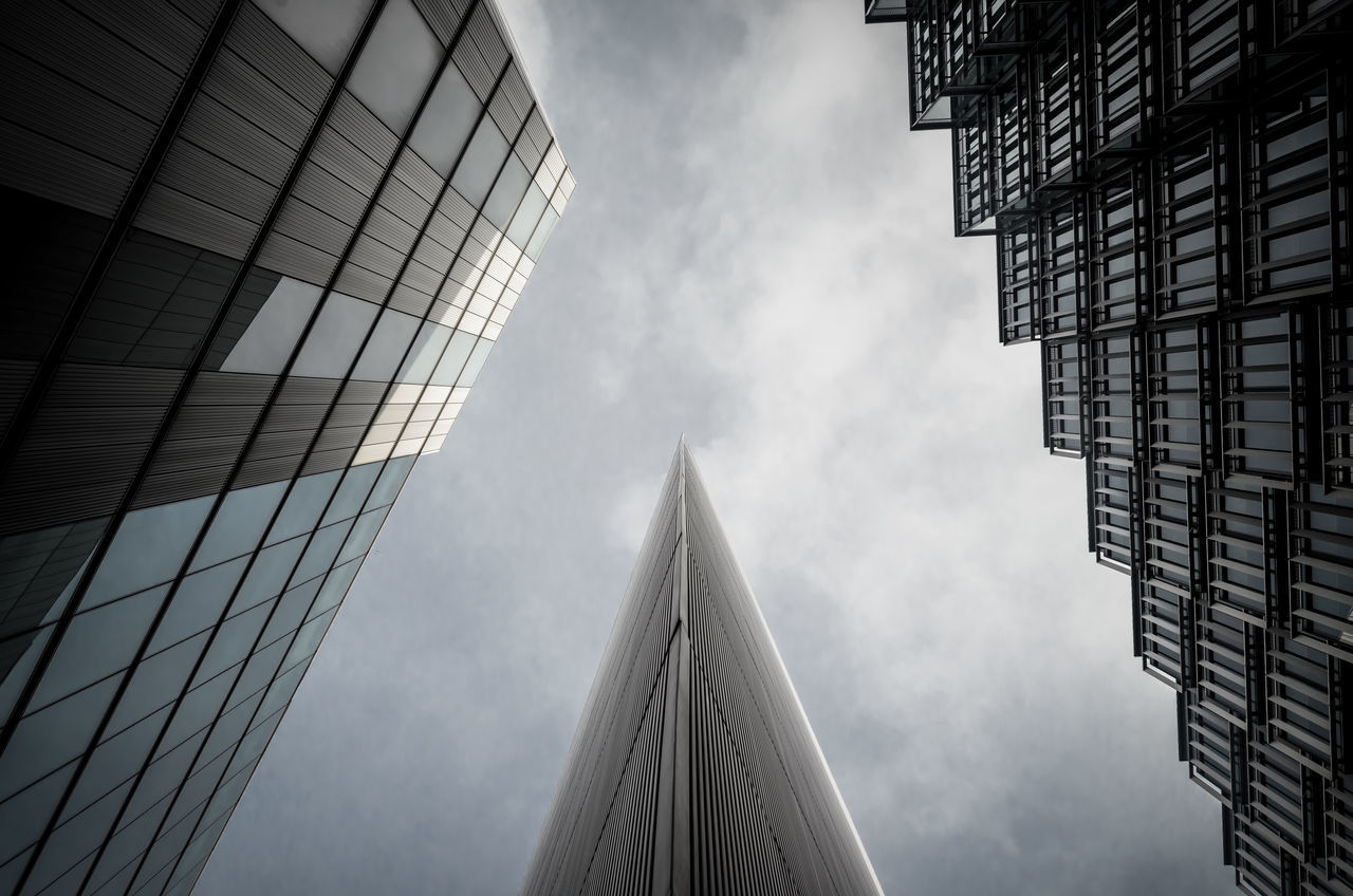 Sky Architecture Built Structure Low Angle View Building Exterior Modern London Architectural Office Building City Building Glass Sharp No People Fine Art Photography Atmospheric Mood Atmosphere