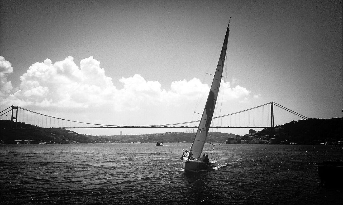 Bridge - Man Made Structure City Outdoors Sky Day Getting Inspired Istanbul Istanbul Turkey Landscape City Blackandwhite Monochrome Istanbul Blackandwhite Black And White Black&white Blackandwhite Nature Blackandwhite Photography Blackandwhitephotography Black And White Collection  Monochrome Photography Cloud - Sky