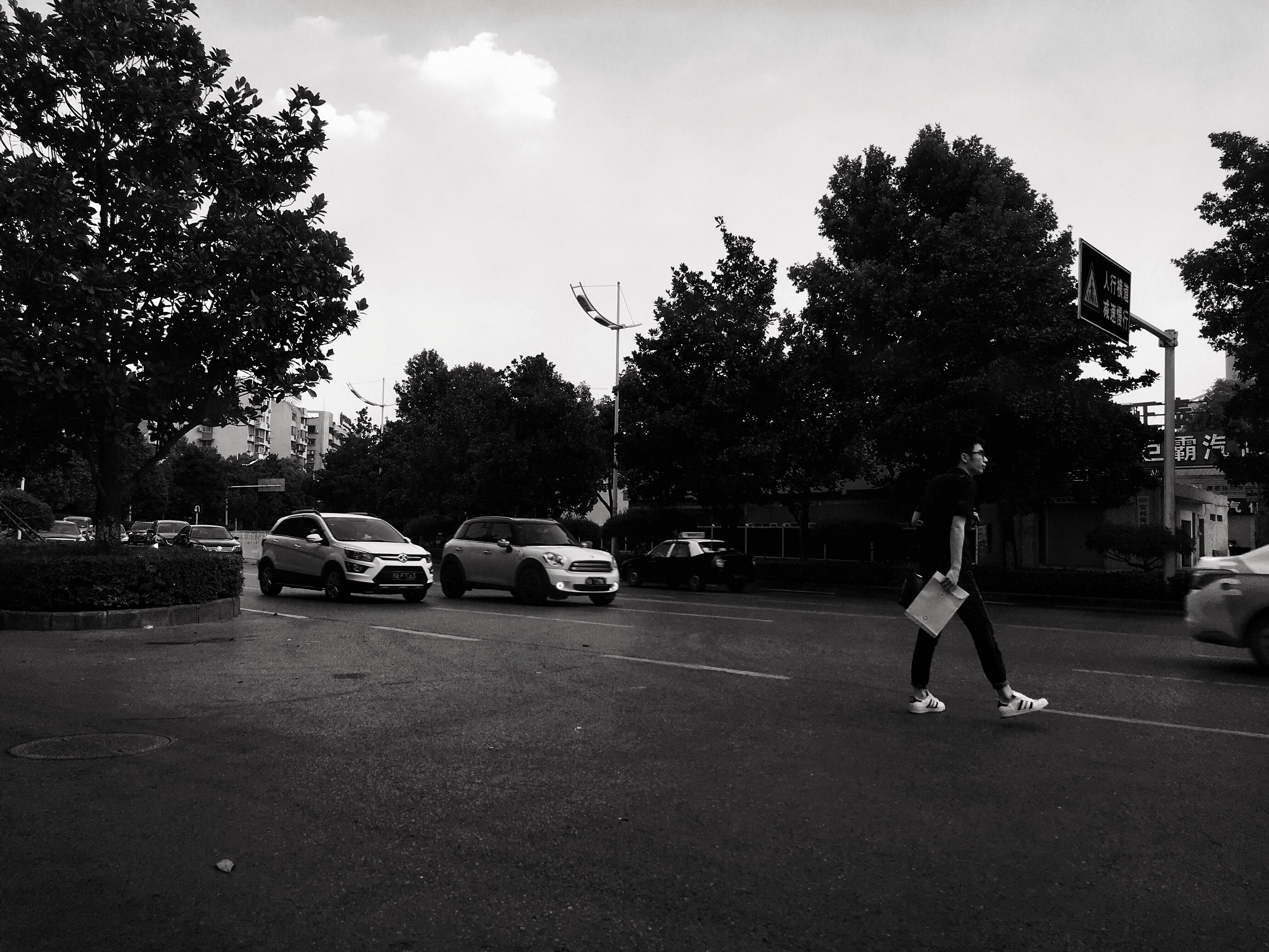 tree, car, transportation, land vehicle, men, outdoors, real people, full length, sky, road, city, day, one person, people