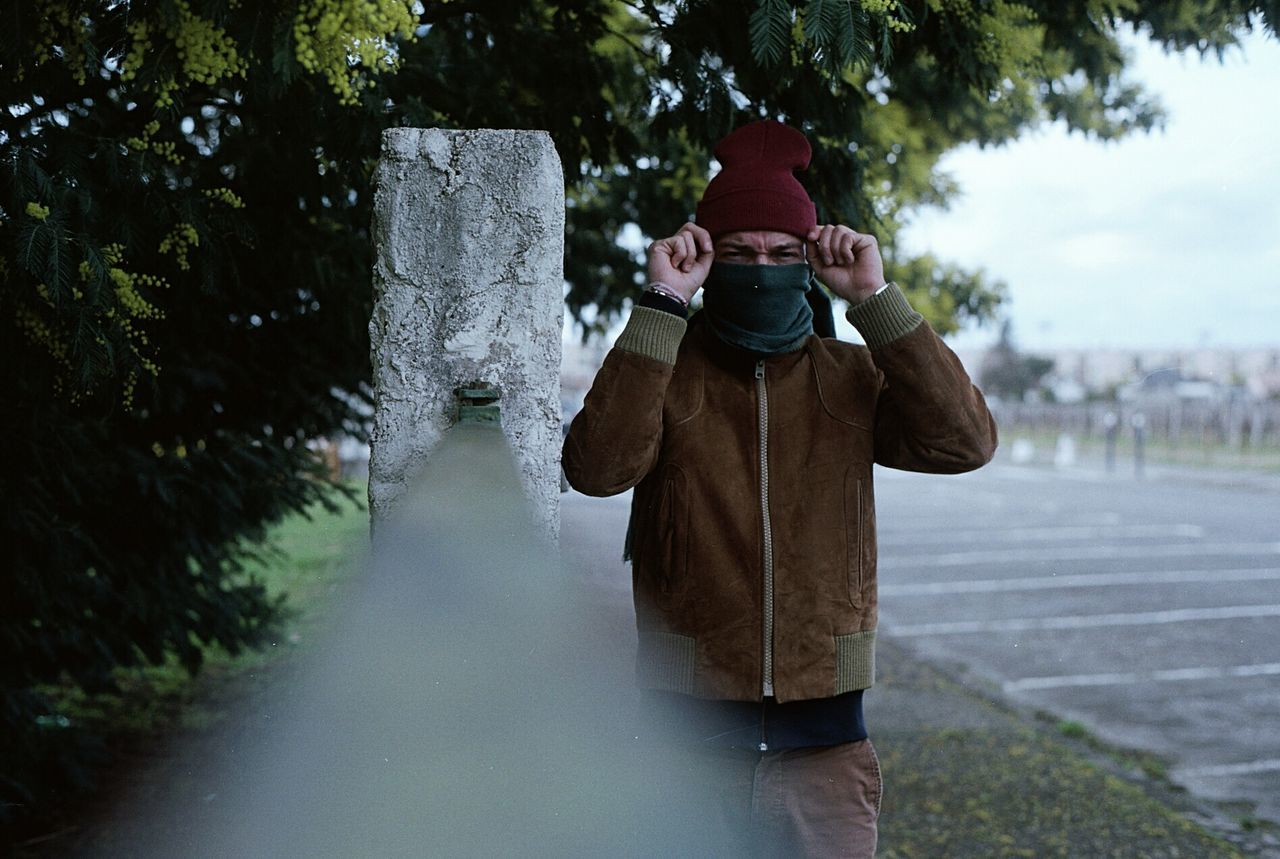 ✔ Outdoors Cold Temperature Adults Only One Person Tree People Men Only Men One Man Only Kodak EyeEm Best Shots Film Analogue Photography 35mm Film Streetphotography Street Photography Portrait Looking At Camera First Eyeem Photo Ishootfilm Filmisnotdead Portraits Front View Argentique