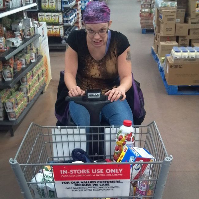 I forgot she had the motorized cart. And she threatened to run me down if I made one more joke about her driving....I couldn't help my self. Denathesurvivor