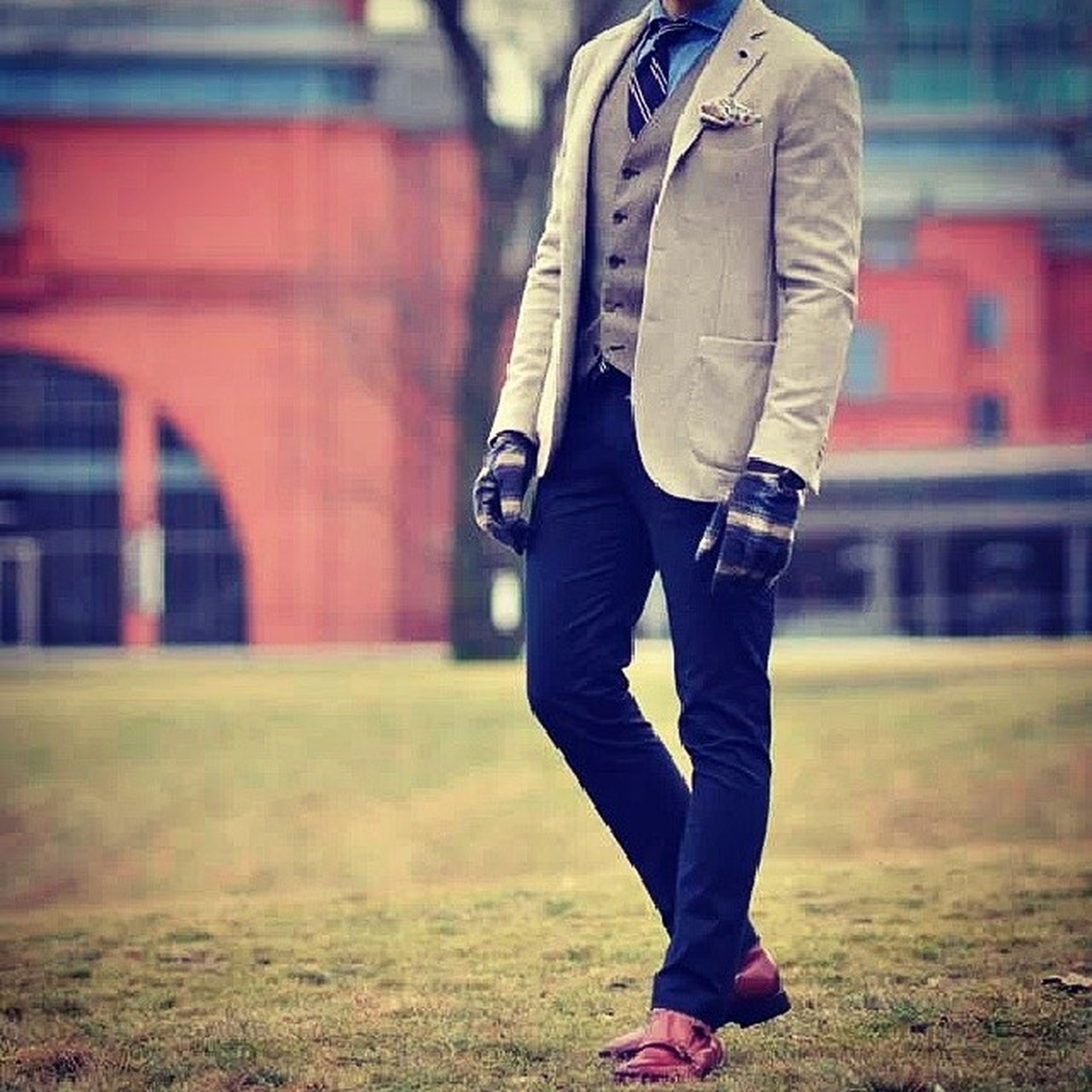 lifestyles, casual clothing, focus on foreground, standing, leisure activity, grass, full length, rear view, men, jacket, walking, holding, selective focus, day, boys, front view, outdoors, field
