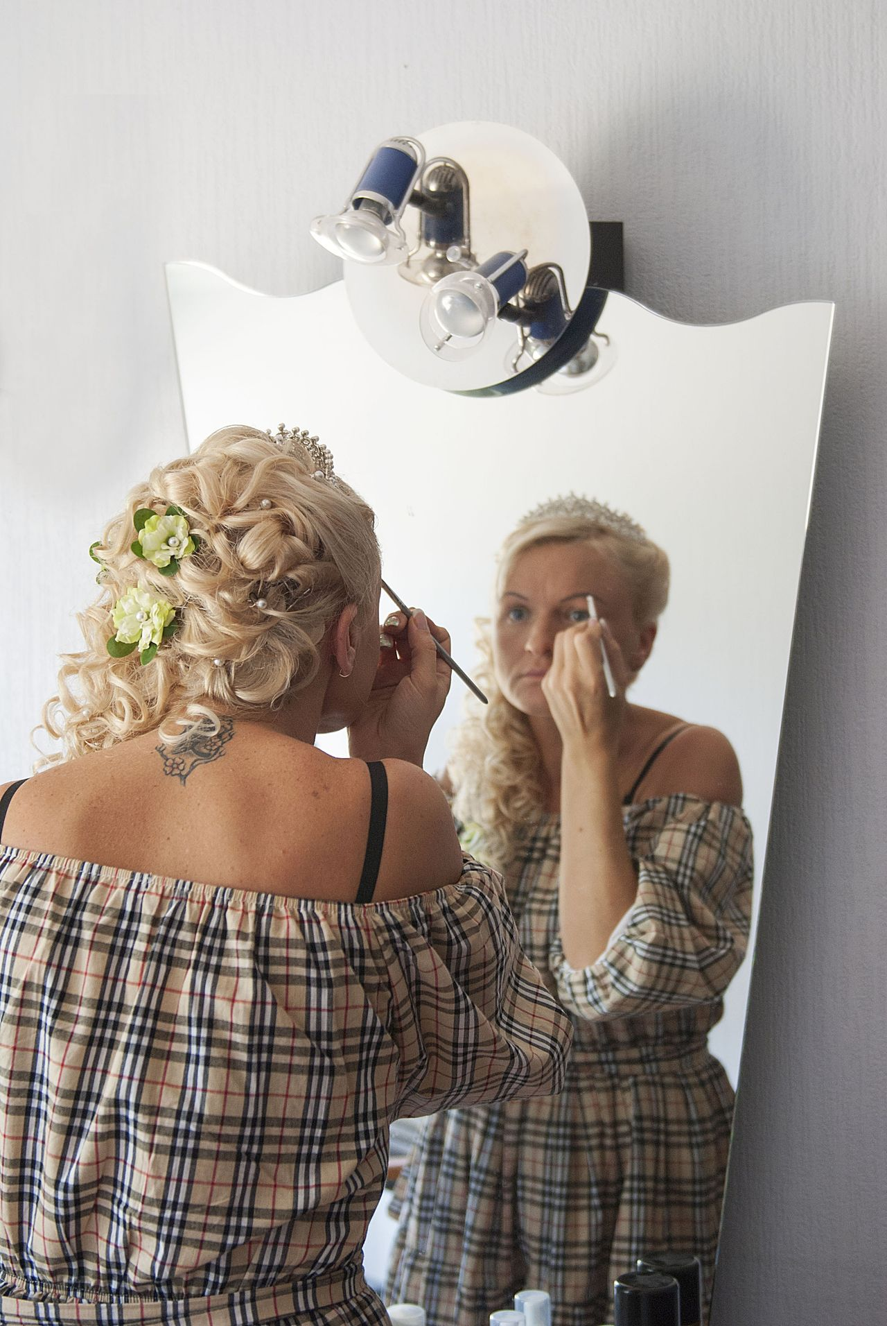 bride her wedding morning Adult Adults Only Background Blond Hair Bride Celebration Day Domestic Room Enjoyment Erotic_model Event Hairstyle Indoors  Lamps Lifestyles Makeup Mirror Morning Reflection Sexygirl Tatoo Tatoostyle Wedding