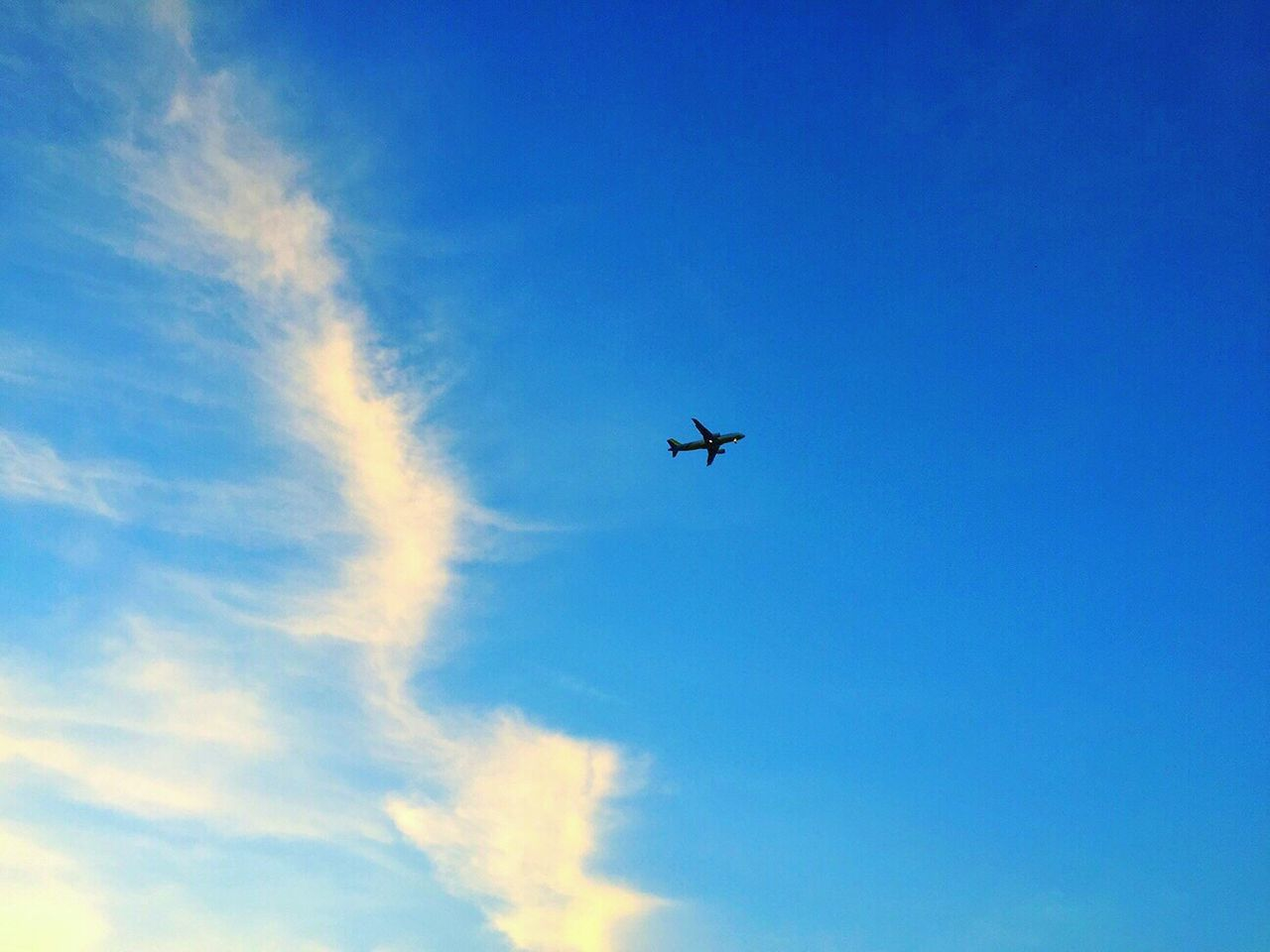low angle view, flying, blue, sky, airplane, transportation, journey, air vehicle, outdoors, no people, day, nature