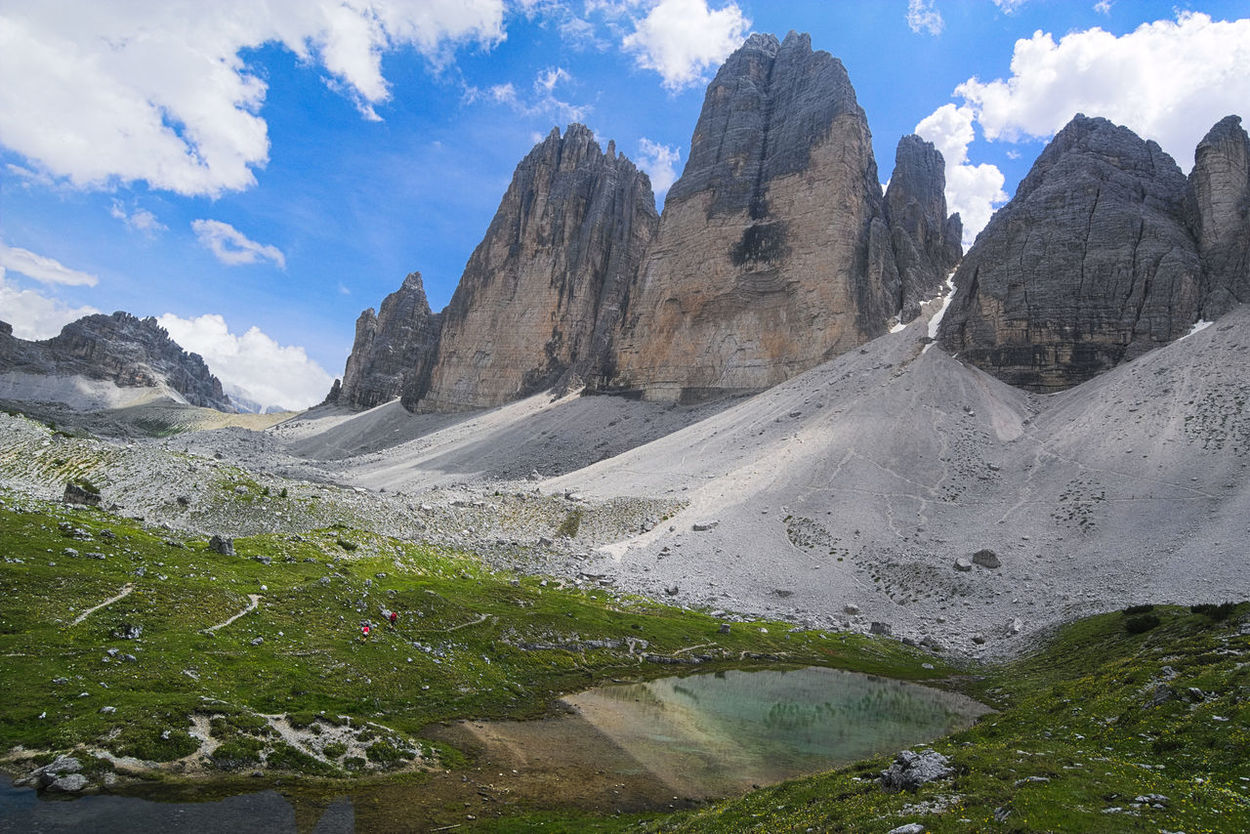 Alps Beauty In Nature Cloud - Sky Day Drei Zinnen Geology Hiking Adventures Idyllic Italy Lake Landscape Mountain Mountain Range Nature Pond Reflection Scenics South Tyrol Tre Cime Di Lavaredo