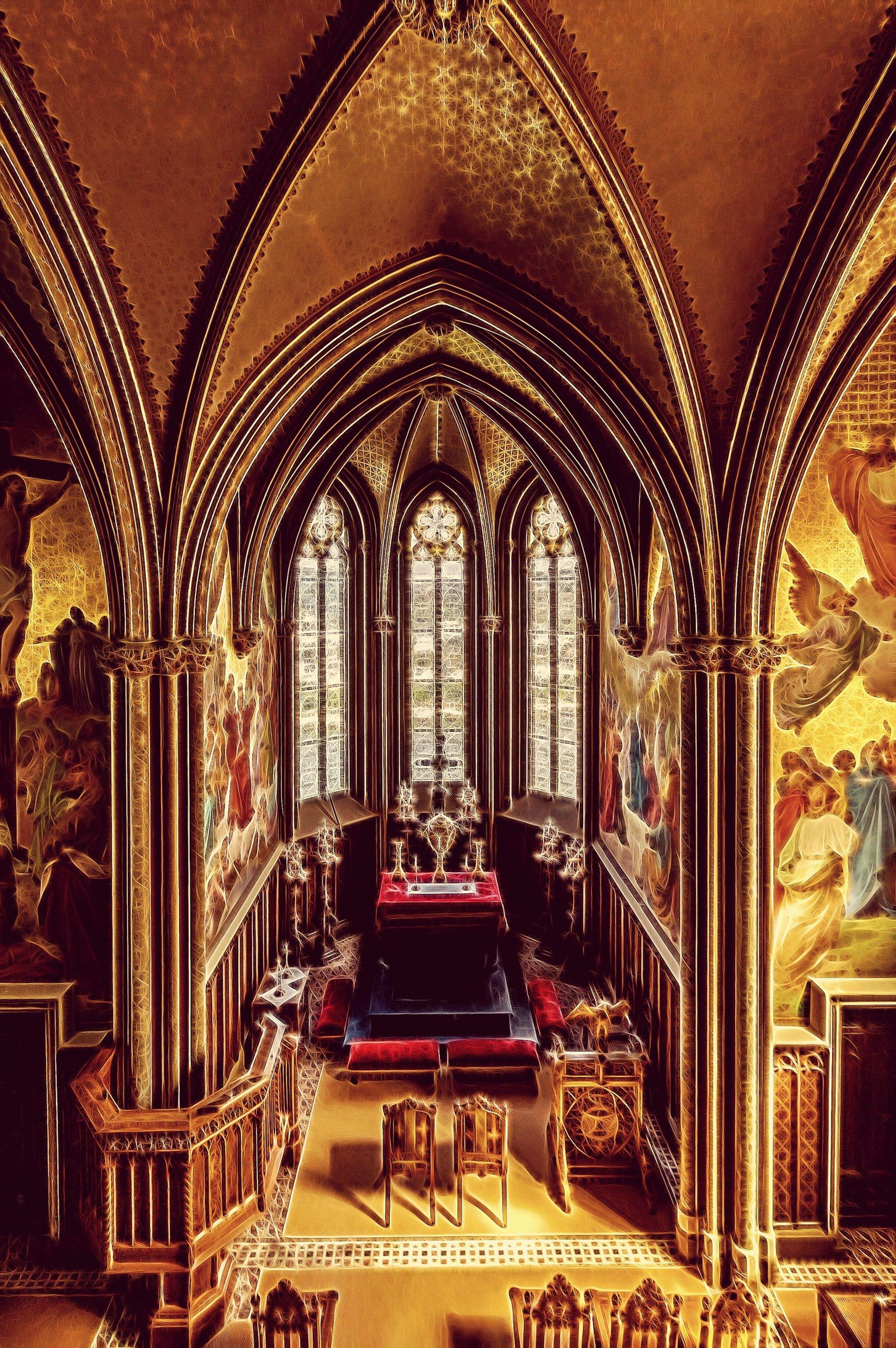 indoors, place of worship, religion, spirituality, church, arch, architecture, ornate, built structure, ceiling, temple - building, interior, art and craft, art, design, cathedral, creativity, cultures