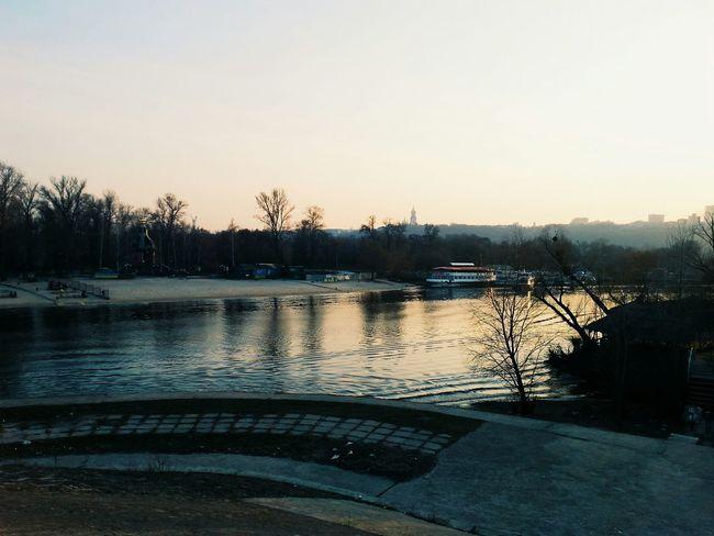 Kiev Ukraine Sunset Cityscapes Evening Sky River Ship Park OpenEdit