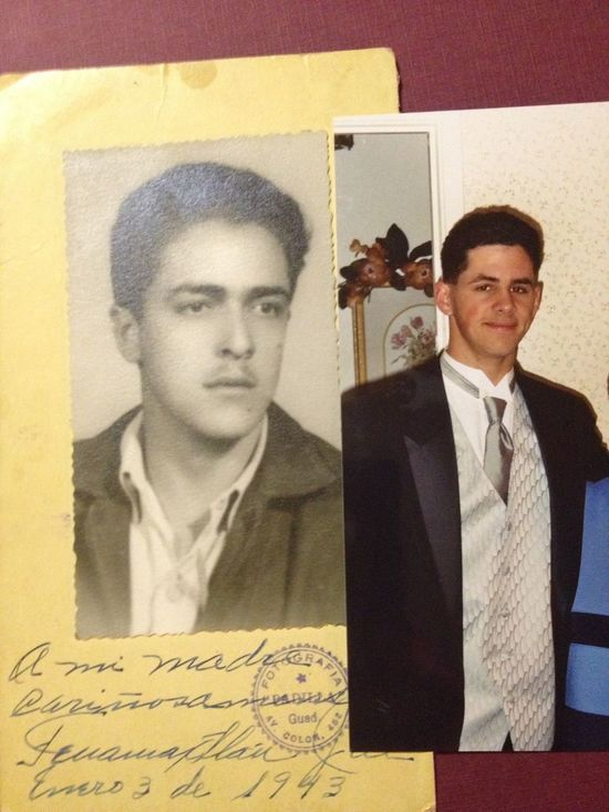 My grandfather in 1943, age 17, and me in 2003, age 17 Family Grandfather Family Resemblance