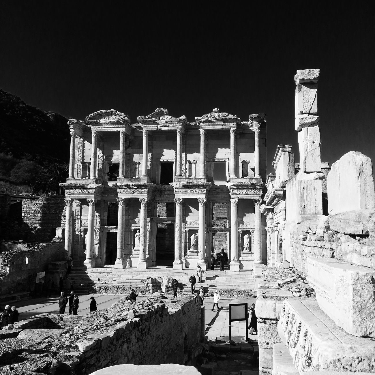Ephesus in winter in black and white. Old Buildings Travel Photography Black & White