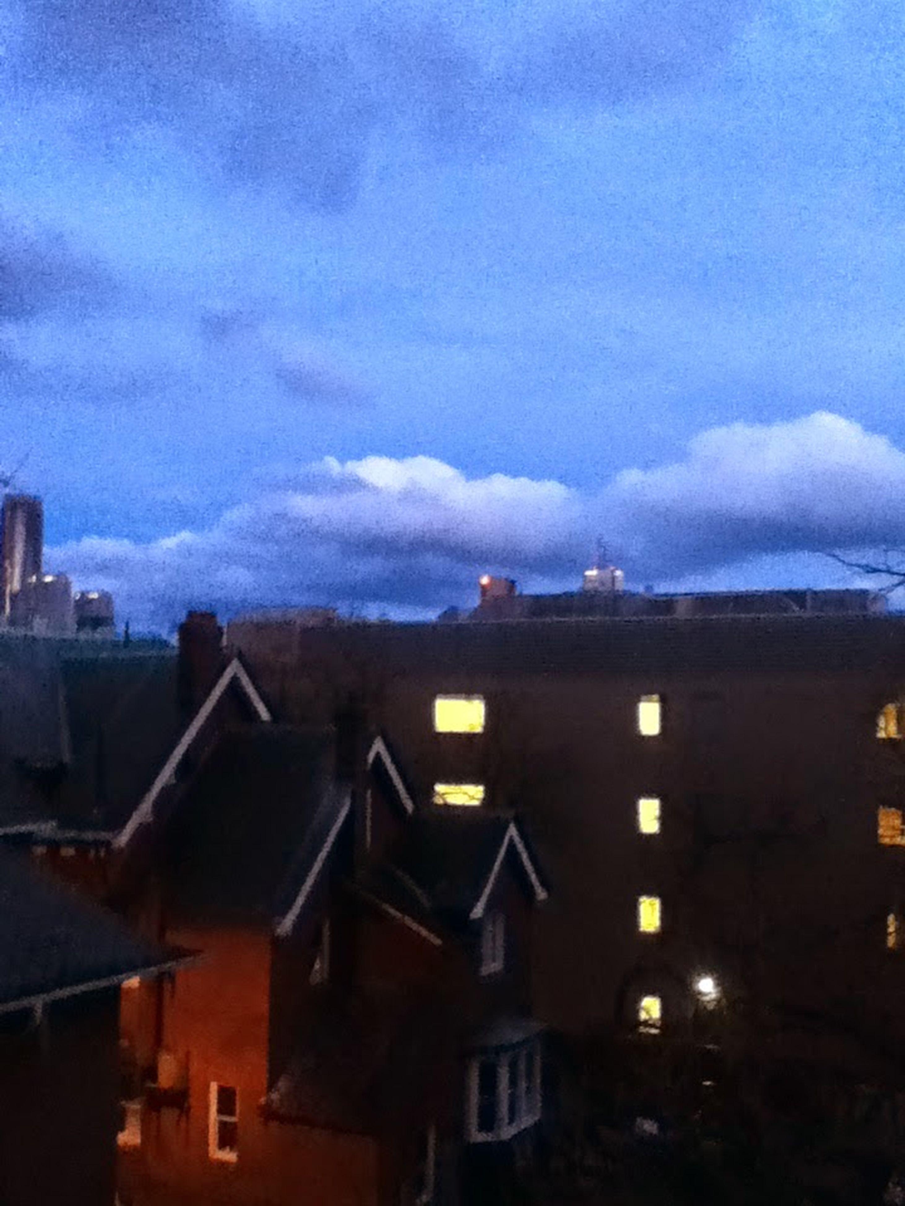 building exterior, architecture, built structure, sky, residential structure, house, cloud - sky, residential building, city, roof, weather, dusk, residential district, cloud, cloudy, town, building, blue, outdoors, cityscape