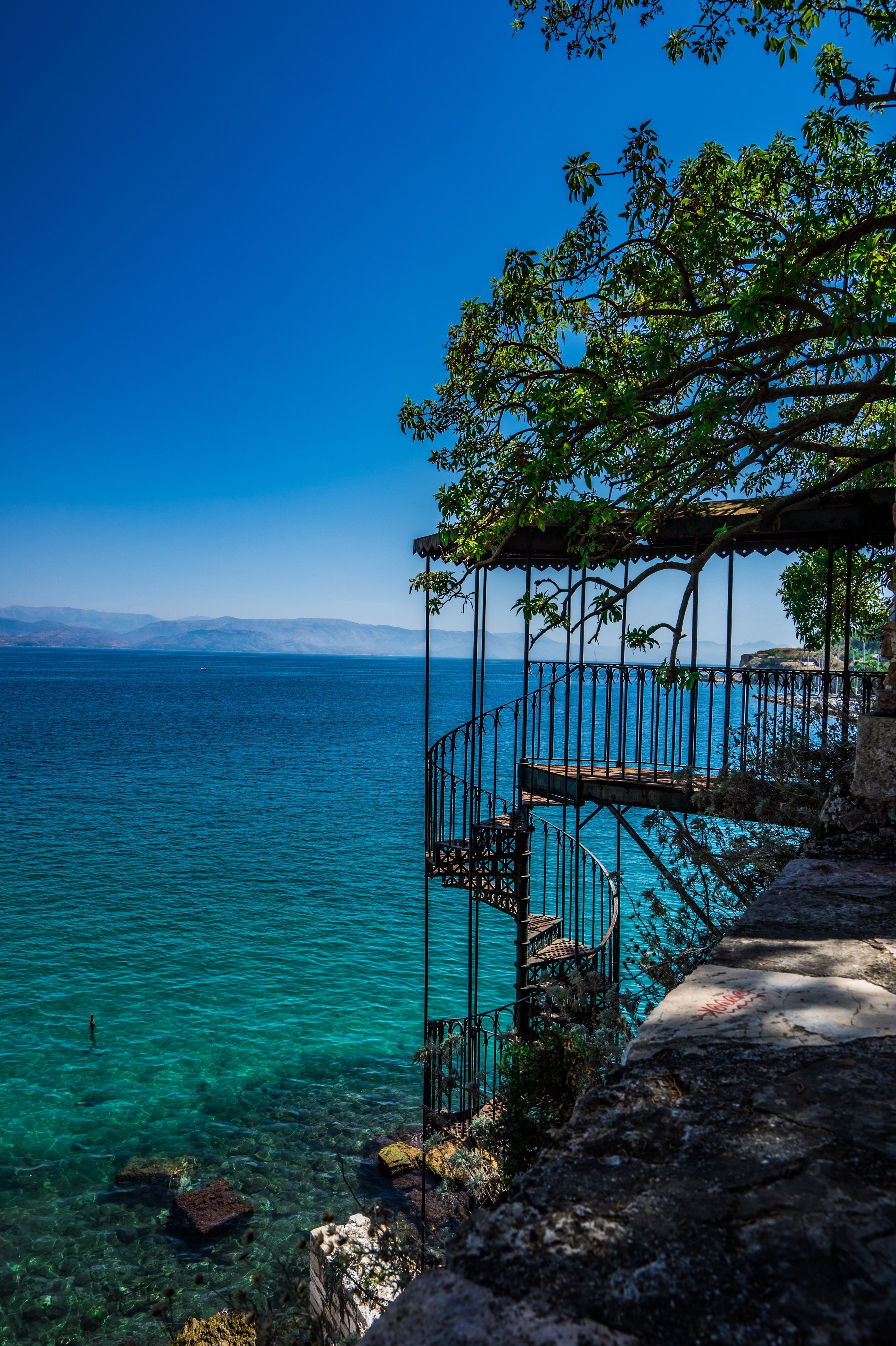 tree, water, blue, tranquil scene, scenics, tranquility, sea, nature, beauty in nature, calm, sky, seascape, day, tourism, outdoors, non-urban scene, solitude, vacations, shore, remote, no people, ocean, majestic