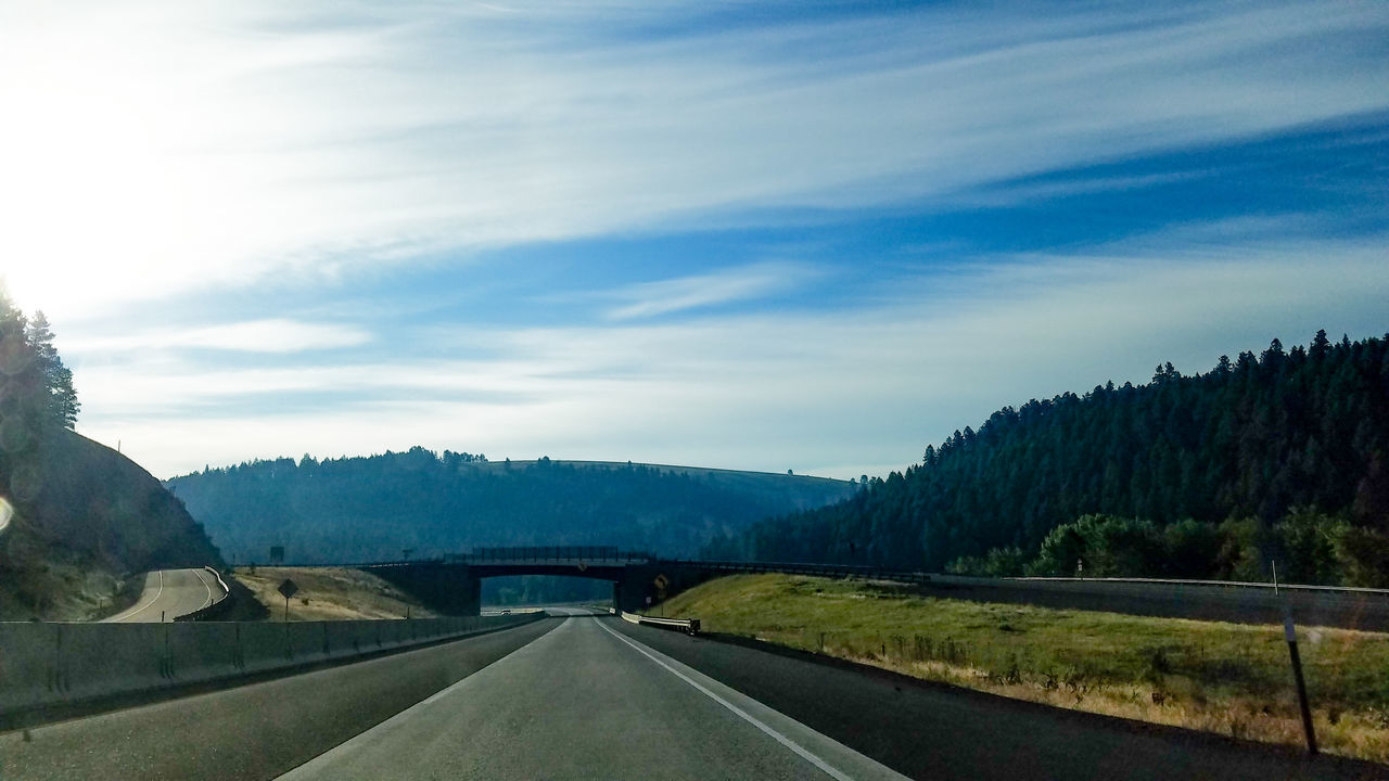 The Way Forward Road Landscape Highway Sky No People Beauty In Nature Outdoors Day Driving Bridge Senic Explore Mountians EyeEmNewHereSummer Sightseeing Trees Hillscape Morning Sky Exploring Roadtrip Traveling Travel Nature EyeEmNewHere