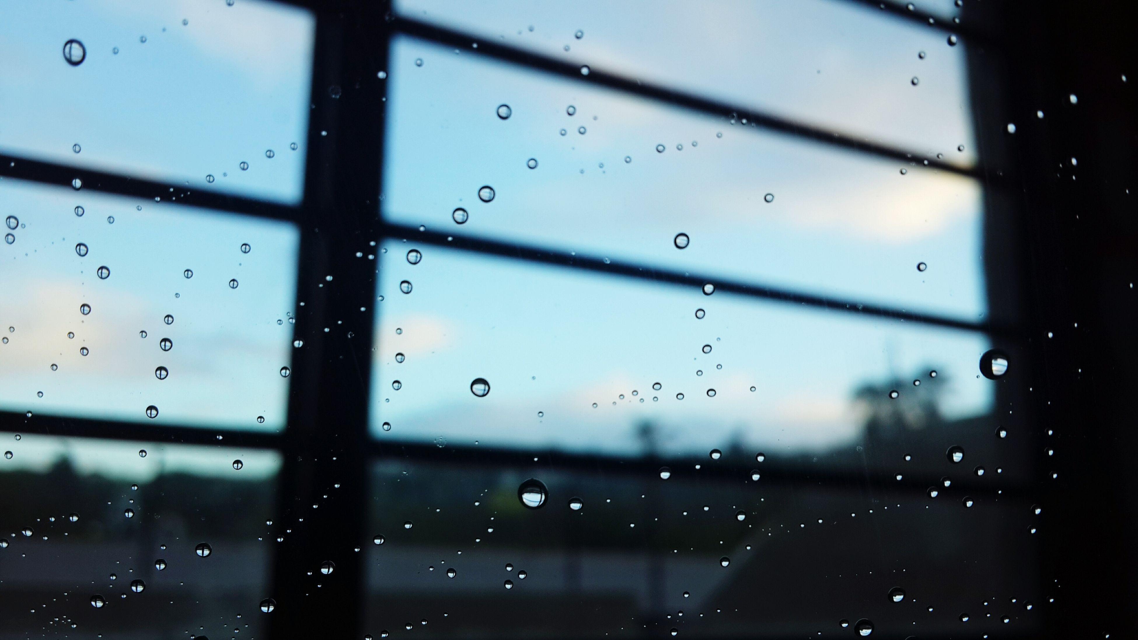 window, drop, full frame, transparent, water, rain, backgrounds, no people, rainy season, wet, close-up, indoors, raindrop, nature, day, sky