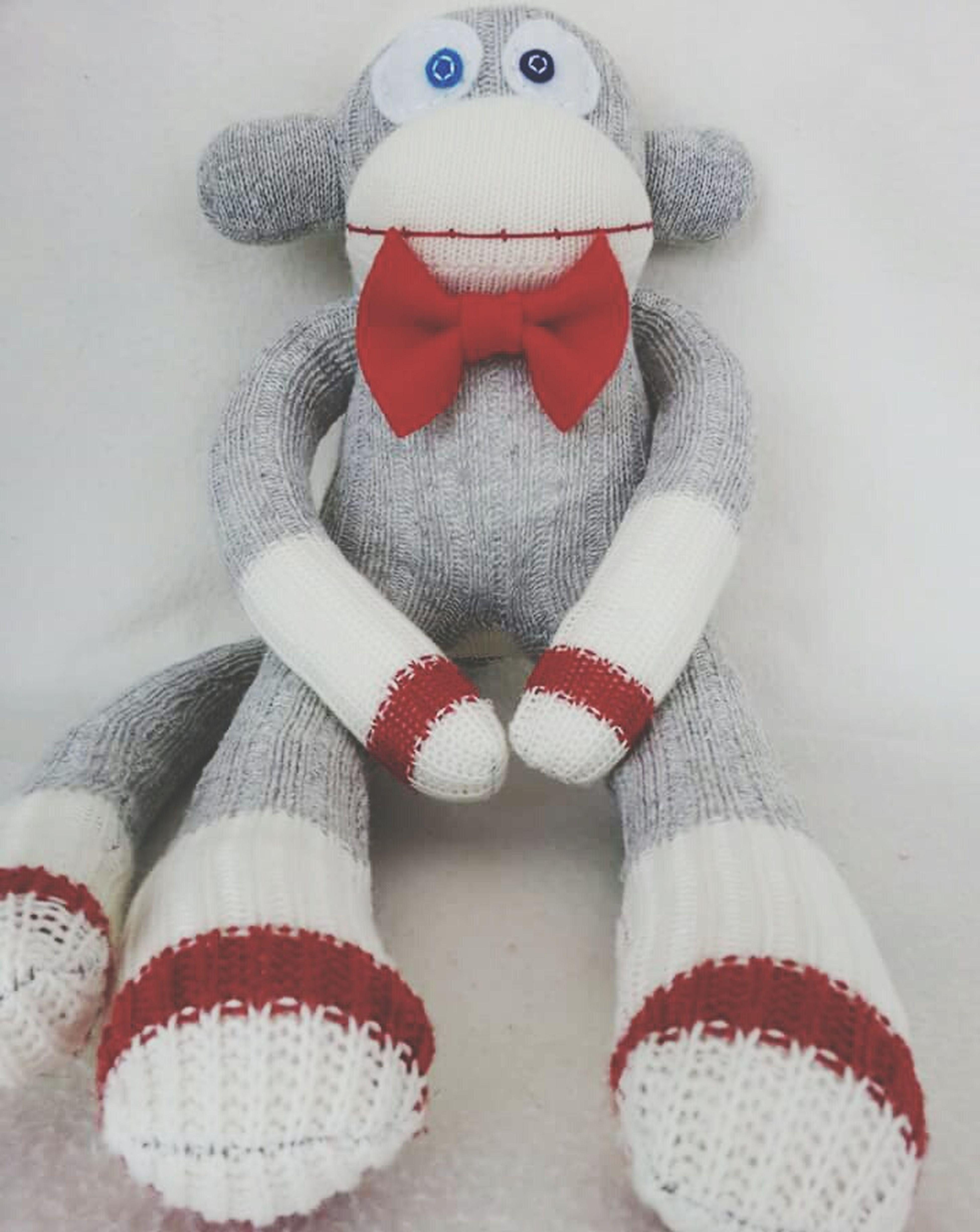 My sockmonkey skittles Sockmonkey His Name Is Skittles Blue Eye Brown Eye Monkey Love Red Bow Tie Perfect Gentleman Handmade