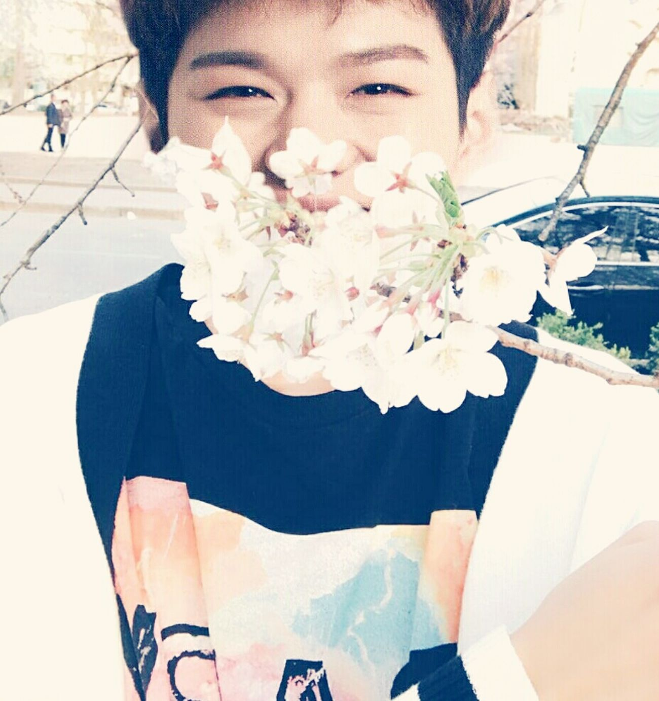 First Eyeem Photo Portrait Smiling Selfie Young Adult One Person Faceswap Kpop Edit MonstaX Minhyuk  Btob Changsub Looking At Camera BTOB Flowers Cute